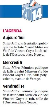 2014 02 28 La Provence Agenda Vincent Goyet Saint Mitre en Vie