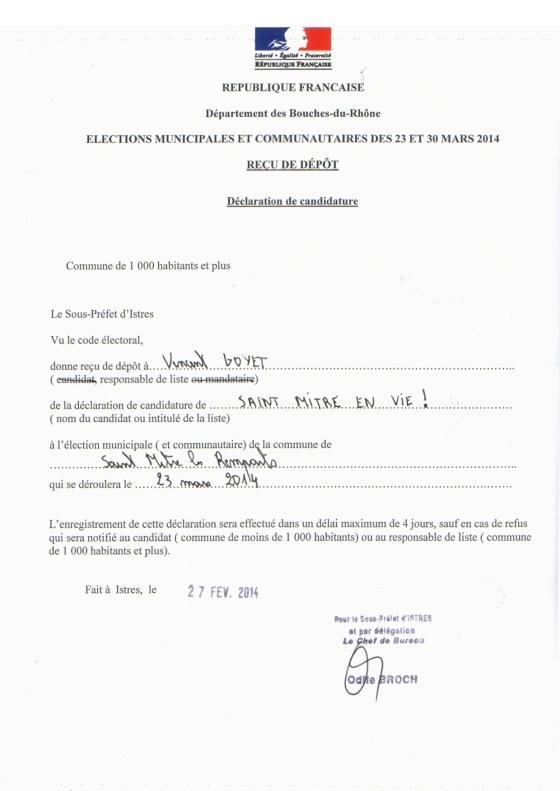 recu de depot declaration de candidature